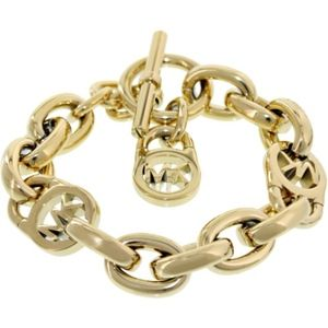 Auth Michael Kors Gold Logo Lock Toggle Bracelet